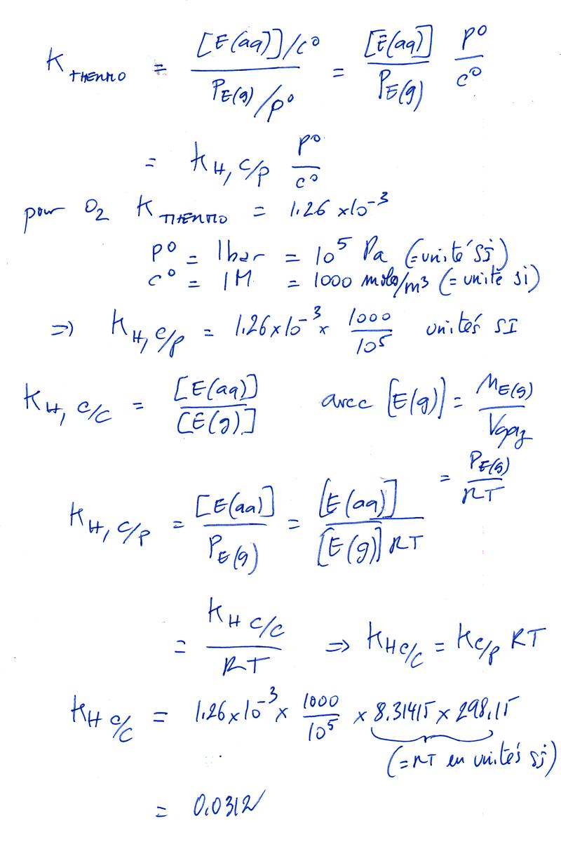 Exercices et problèmes - Solubilité des gaz dans l'eau